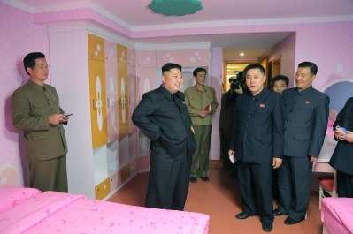 North Korean leader Kim Jong Un visits the Songdowon International Children's Camp, as its remodelling project nears completion, in this undated photo released by North Korea's Korean Central News Agency (KCNA), April 21, 2014. REUTERS/KCNA (NORTH KOREA -