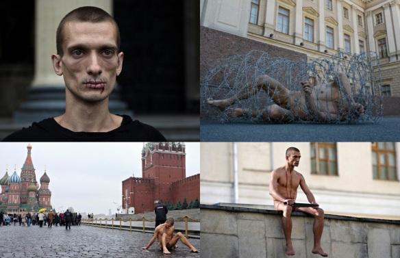 Petr Pavlensky, artista contemporâneo com linguagem repetitiva e alusiva ao século XX.