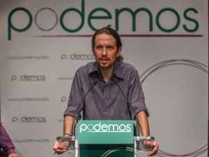 """Pablo Iglesias, head of leftist group """"Podemos"""", or """"We Can"""", delivers a speech during the presentation of the party in Madrid"""