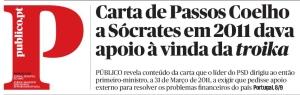 Público revela conteúdo da carta que o líder do PSD dirigiu ao então primeiro-ministro, a 31 de Março de 2011, a exigir que pedisse apoio externo para resolver os problemas financeiros do país