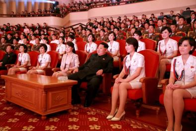 North Korean leader Kim Jong Un (3rd R) and wife Ri Sol Ju (4th L) enjoy an art performance given by the Chongbong Band to mark the 70th anniversary of the founding of the Workers' Party of Korea (WPK) in this undated photo released by North Korea's Korean Central News Agency (KCNA) in Pyongyang on October 19, 2015. REUTERS/KCNA