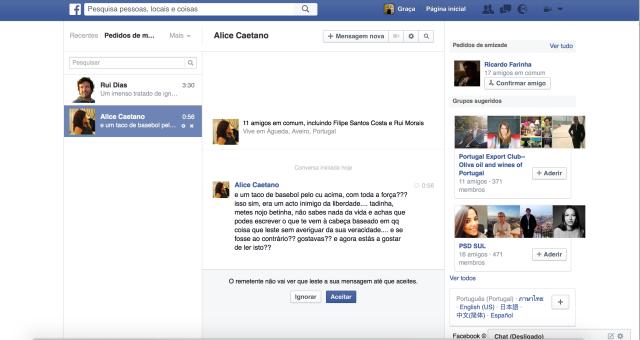 Alice Caetano mensagem