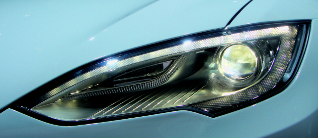 """Tesla Model S headlight"" - Yahya S. @flickr.com (creative commons, edited)"