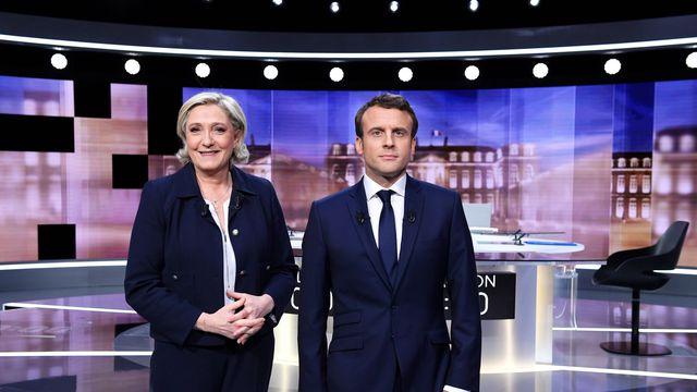 Marine Le Pen e Emmanuel Macron, no último debate presidencial